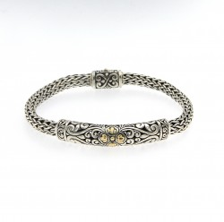 Samuel B. Sterling Silver/18K Bracelet With Balinese Design