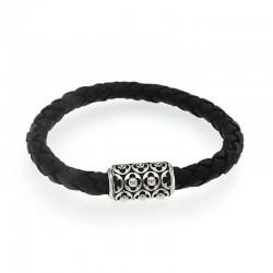 Samuel B. Sterling Silver Men's Black Leather Bracelet