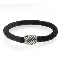 Samuel B. Sterling Silver Woven Design Black Leather Bracelet