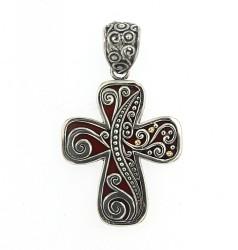 Samuel B. Sterling Silver/18KY Coral Cross Pendant