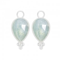 Mia Aquamarine Silver Earring Charms (Charms only)