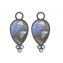Mia Small Labradorite Silver Earring Charms (Charms only)