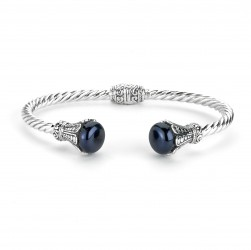 Samuel B. Sterling Silver Black Pearl Hinged Cable Bangle
