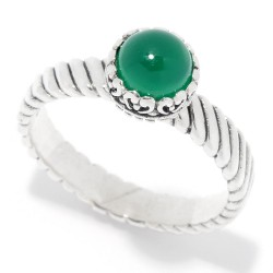 Samuel B. Sterling Silver Round Green Onyx Ring