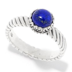 Samuel B. Sterling Silver Round Lapis Stack Ring