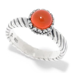 Samuel B. Sterling Silver Round Orange Chalcedony Stack Ring