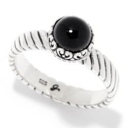 Samuel B. Sterling Silver Round Onyx Stack Ring