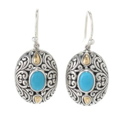 Samuel B. Sterling Silver/18K Oval Sleeping Beauty Turquoise Earrings