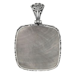 Samuel B. Sterling Silver  Square Grey Shell Pendant