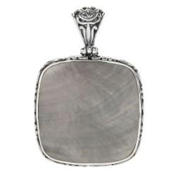 Samuel B. Sterling Silver  Square Grey Shell Pendant