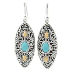 Samuel B. Sterling Silver/18KY Marquise Shaped Sleeping Beauty Turquoise Earrings