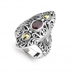 Samuel B. Sterling Silver/18K Marquise Shaped Garnet Ring