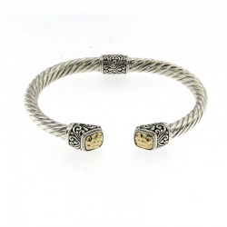 Samuel B. SS/18KY Gold Twisted Cable Bangle With Hammered Gold Cushion Endcaps