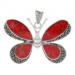 Samuel B. Sterling Silver Butterfly Pendant with Coral
