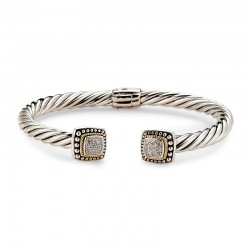 Samuel B. Sterling Silver/18KY Square Shaped Twisted Design Diamond Cable Bangle