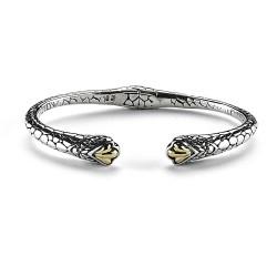 Samuel B. Sterling Silver/18K Pebble Design Hinged Cable Bracelet