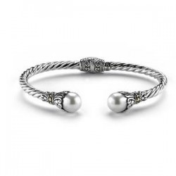 Samuel B. Sterling Silver/18K  Twisted White F/Water Pearl Cable Bangle