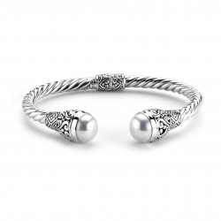 Samuel B. Sterling Silver Twisted Fresh Water Pearl Hinged Cable Bangle