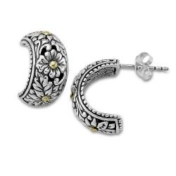 Samuel B. Sterling Silver/18KY Flower Design Hoop Earring