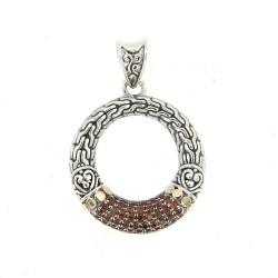 Samuel B. Sterling Silver/Garnet Pave Open Circle Pendant