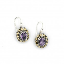 Samuel B. Sterling Silver/18K Oval Cut Amethyst Beaded Drop Earrings