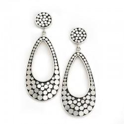 Samuel B. Sterling Silver Dot Design Open Pear Shape Drop Earrings