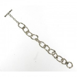 Samuel B. Sterling Silver Bamboo Design Chain Link Toggle Bracelet