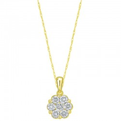 10KY 2/3ctw Diamond Cluster Flower Pendant