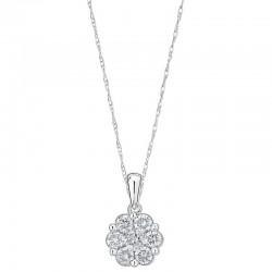 10KW 1ctw Diamond Cluster Flower Pendant