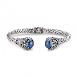 Samuel B. Sterling Silver/18KY 5mm Twisted Cable Bangle with Blue Mabe Pearl