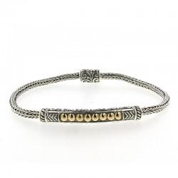 Samuel B. Sterling Silver/18KY Naga Chain Bar Bracelet