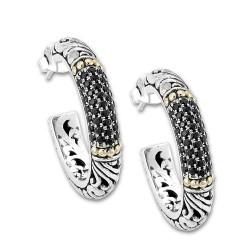 Samuel B. Sterling Silver/18KY Black Spinel Hoop Earrings