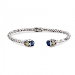 Samuel B. Sterling Silver/18KY 3mm Twisted Cable Bangle with Blue Pearl Endcaps