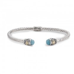 Samuel B. Sterling Silver/18KY 3mm Twisted Cable Bangle with Larimar Endcaps
