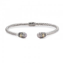 Samuel B. Sterling Silver/18KY 3mm Twisted Cable Bangle with Pink Pearl Endcaps