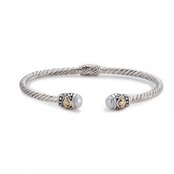 Samuel B. Sterling Silver/18KY 3mm Twisted Cable Bangle with Pearl Endcaps