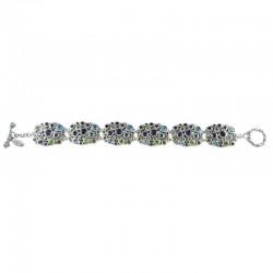 Samuel B. Sterling Silver Multi Gemstone Cluster Toggle Bracelet