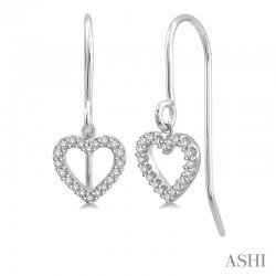 10K White Gold.15ct tw Diamond Heart Earrings