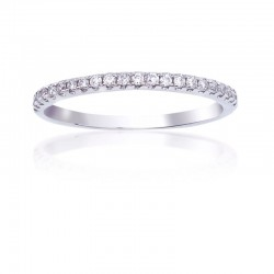 14K White Gold Round Diamond Pave Band, 19 Round Diamonds 0.2 ctw