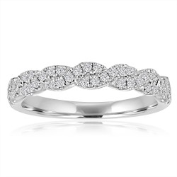 White Gold Twisted Band