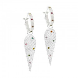Angel Wings 30mm Multi Tourmaline Silver Earring Charms (Charms only)