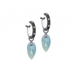 Angel Wings 15mm Aquamarine Silver Earring Charms (Charms only)