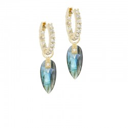 Angel Wings 15mm Labradorite 18KY Earring Charms (Charms only)