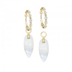 Angel Wings 20mm Moonstone 18KY Earring Charms (Charms Only)