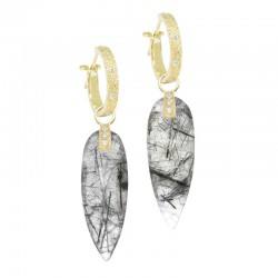 Angel Wings 30mm Black Tourmalated Quartz 18KY Earring Charms (Charms only)