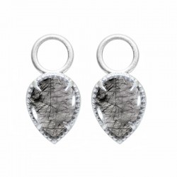 Vintage Lace Black Tourmalated Quartz Silver Earring Charms (Charms Only)