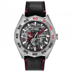 Citizen Limited Edition Marvel Spider-Man Watch w/Black & White Dial, Gray Leather Strap