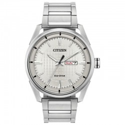Men's ST Citizen Drive Watch w/Silver Stick Dial, Day-Date, WR100M/10Bar