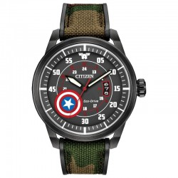Citizen Marvel Captain America Watch w/Black, Silver Accent Dial, Camo Strap