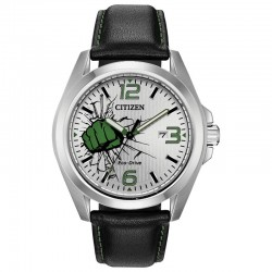 Men's Citizen Marvel The Hulk Watch w/Silver-Green Dial, Smooth Bezel, Black Leather Strap with Green Stitching